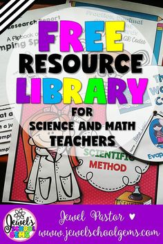 FREE Resource Library for Science and Math Teachers by Jewel Pastor of http://jewelschoolgems.com | Looking for teacher resources, ideas and inspiration? Visit my blog and become a subscriber. Click through to be taken to a page where you can sign up and have immediate access to a growing library of free resources mostly for Science and Math teachers today! | FREE Teaching Resources