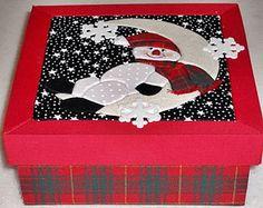 Boneco de Neve - Caixa Em Patchwork