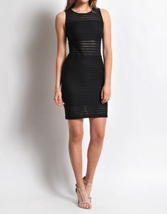 Obsessed To Dress - Sheer Stripe Body-Con Dress- Black, $34.99 ObsessedToDress.com