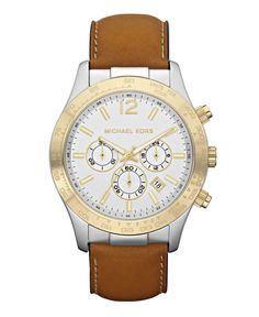 Michael Kors Men's Chronograph Tan Leather Watch On Sale Now Was Brown Leather Strap Watch, Tan Leather, Michael Kors Men, Michael Kors Watch, Michael Kors Chronograph Watch, Watch Sale, Watches For Men, Fancy Watches, Wrist Watches