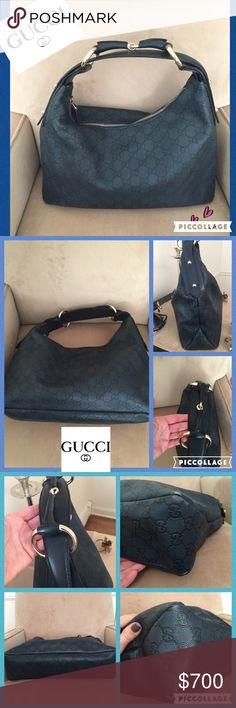 """💫⭐️Authentic GUCCI Horsebit leather hobo💫⭐️ 💫⭐️Gorgeous navy blue leather with monogrammed GG- logo throughout the bag. Has Horsebit chain link on strap w silver details. Love the interior on this bag w the chain link pattern. Very clean w an interior zipper pocket. Some gentle ware at all 4 corners of the bag. 7"""" shoulder drop and bag measures approx 15 x 9. 💫⭐️ Gucci Bags Hobos"""