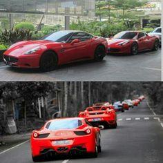 Line of Ferrari's! whats your favourite Ferrari?