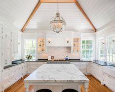 White kitchen plank ceiling. Beautiful white kitchen with white plank ceiling. #Whitekitchenplankceiling #whitekitchen #plankceiling white-kitchen-plank-ceiling EC Trethewey Building Contractors, Inc