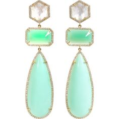 Irene Neuwirth Rainbow Moonstone, Diamond & Chrysoprase Drop Earrings found on Polyvore