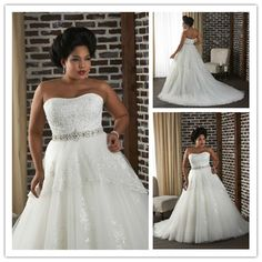 W0266 Big Size Wedding Dress for Fat Woman Autumn Sexy 2013 Ball Gown Sweetheart Lace Beads Crys ...