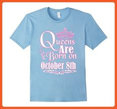 Mens Queens Are Born On October 8th Funny Birthday T-Shirt XL Baby Blue - Birthday shirts (*Partner-Link)