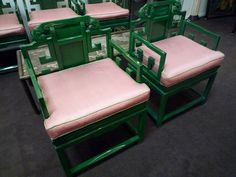 pink & green a prep classic Living Room Inspiration, Home Decor Inspiration, Design Inspiration, Home Decor Furniture, Outdoor Furniture Sets, Salvaged Furniture, Asian Chairs, Colorful Chairs, Green Chairs