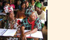 Adult literacy class in Guinea.