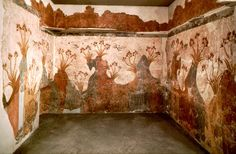 Spring fresco - Archaeological site of akrotiri Santorini Greece