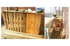 In the process of building my own Deck Bar or Tiki Bar using wood pallets. 1) found old pallets and cleaned them up 2)positioned the location on my deck and fastened with leftover deck screws.3) used my jigsaw to cut some old boards left in the garage and fastened them for the bar top.4) put some shelves inside (small pic). 5) use rattan window blinds to cover and old TiKI lamps for bamboo to cover edges, still have to put finishing touches...more pics later