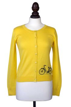 Long Sleeved Cotton Mustard Button Down Cardigan with Retro Bicycle - 1950s| Weekend Doll