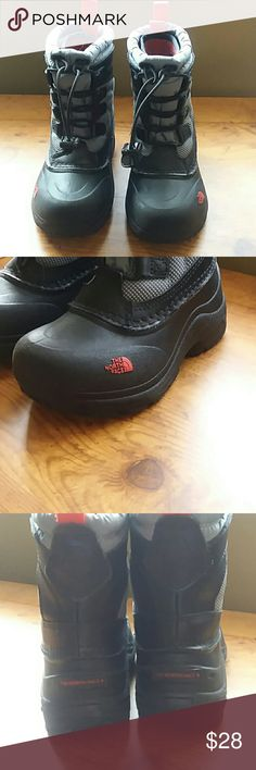 The North Face size 10 boys boots Very warm. Barely used. Two-time grey with red accents. North face Shoes Rain & Snow Boots