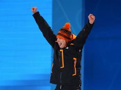 Gold medalist Sven Kramer of the Netherlands celebrates during the medal ceremony for the Men's 5000m Speed Skating