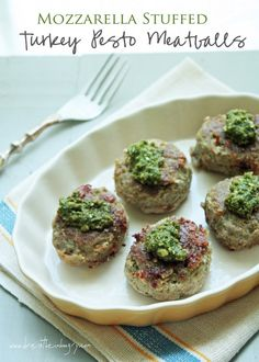 Mozzarella Stuffed Turkey Pesto Meatballs (low carb and gluten free) from ibreatheimhungry.com