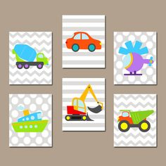 Transportation Wall Art CANVAS or Prints Vehicles Boy Nursery Boy Bedroom Pictures Cars Boat Construction Helicopter Truck Set of 6 Decor