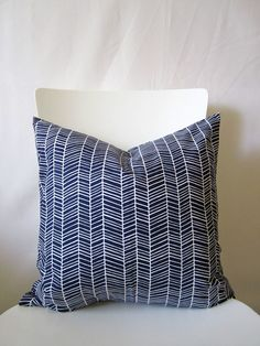 18 inch throw pillow cover, Herringbone navy blue and white. Menswear inspired pattern, modern print. For indoor use.. $14.95, via Etsy.