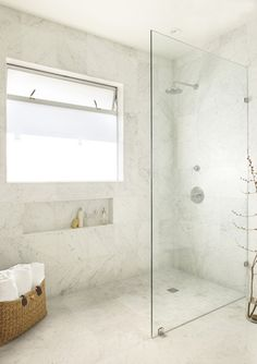 White Bathroom - Stone Walk-in Shower