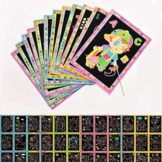 A4 Children/'s rainbow creative DIY Guided Engraving scratch art Pad Gift idea UK