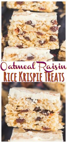 Like a chewy, buttery, cinnamon-y oatmeal cookie, loaded with plump, sweet raisins, crossed with ooey, gooey marshmallow treats!