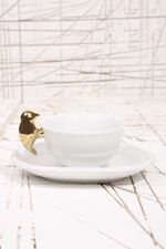 Gold Bird Teacup & Saucer