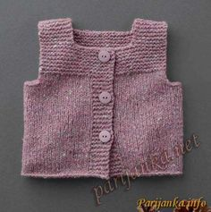 """Knit baby vest, garter stitch with pompoms, soft merino wool by TIENenMIEP on Etsy"", ""This post was discovered by Auš"" Crochet Baby Jacket, Knit Baby Dress, Knit Baby Sweaters, Knitted Baby Clothes, Knit Vest Pattern, Sweater Knitting Patterns, Baby Pullover, Baby Cardigan, Knitting For Kids"