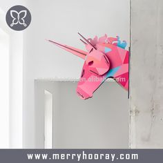 Wooden unicorn head wall decor, home decor modern