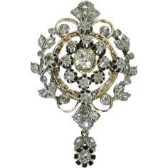 Antique Victorian Diamond Pendant Brooch Old European cut Diamonds 18 karat Red Gold and Silver Gold Pendent, Rose Gold Pendant, Diamond Pendant, Sapphire Pendant, Blue Sapphire, Diamond Brooch, Silver Brooch, Antique Jewelry, Silver Jewelry