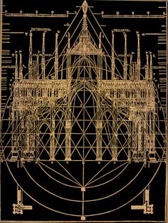 """Latent Geometery in ecclesiastical gothic architecture; from """"The beautiful necessity; seven essays on theosophy and architecture"""" by Claud Fayette Bragdon, 1920."""