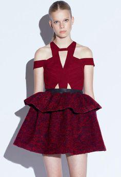Wine Red Deep V Neck Ruffle Flare Dress - Fashion Clothing, Latest Street Fashion At Abaday.com