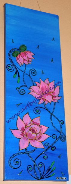 "Henna Style Flowers. 6: x 18"", Henna style textured acrylics on canvas. © Bala Thiagarajan. www.artbybala.com"