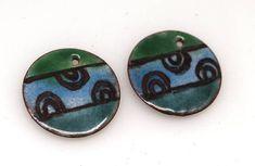 Green Blue- enamel copper charm,Copper charms,enameled #supplies @EtsyMktgTool http://etsy.me/2aiAOyg #enameledcopper #charmsartisan