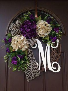 30 Ideas For Door Decorations Front Wreath Ideas Diy Wreath, Grapevine Wreath, Wreath Ideas, Monogram Wreath, Front Door Decor, Wreaths For Front Door, Hydrangea Wreath, Floral Wreath, Over The Door Hanger
