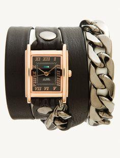 La Mer Watches: Black Rose Gold Malibu Chain Wrap