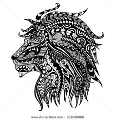 of lion on white background/ african / indian / totem / tattoo design ...