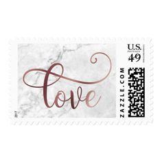 Faux Rose Gold Foil Script Love on Marble Wedding Postage - love gifts cyo personalize diy