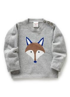 Baby Clothes Knitwear & Jumpers | Bb Fox Intarsia Sweater | Seed Heritage