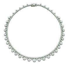 A Diamond Necklace  The graduated circular-cut diamond collets surmounted by a line of similar diamonds, mounted in platinum, 40.0 cm