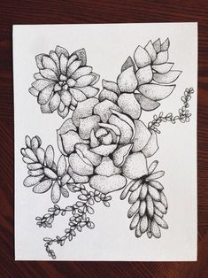 tattoos New Succulent Tattoo Sketch Concepts Article Physique: Be a quirkier fash Tattoo Sketches, Art Sketches, Ink Drawings, Succulent Tattoo, Succulents Drawing, Succulents Diy, Stippling Art, Tattoo Zeichnungen, Cactus Y Suculentas