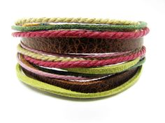 Soft Leather Multicolour Ropes Men or Women by braceletcool, $8.50