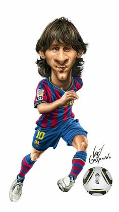 Leo Messi, The best player to ever play the game, in my opinion Lionel Messi, Funny Caricatures, Celebrity Caricatures, Good Soccer Players, Football Players, Cartoon Faces, Funny Faces, Famous Sports, Cinema Tv
