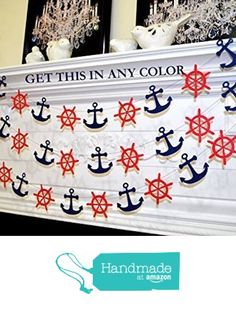 Nautical navy and red ship wheel and anchor garland, nautical decor, nautical wedding bridal shower decor, nautical birthday from ANY OCCASION BANNERS AND GARLANDS http://www.amazon.com/dp/B019UK8FHA/ref=hnd_sw_r_pi_dp_A0f6wb1VJFFKW #handmadeatamazon