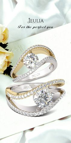 Jeulia Two Tone Curved Round Cut Created White Sapphire Engagement Ring #Jeulia