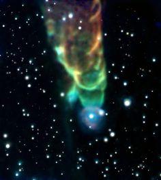 L'oggetto di Herbig-Haro HH49 ripreso dal Telescopio spaziale Spitzer. È ben visibile il getto polare che fuoriesce dalla stella in formazione.