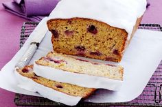 Low-Fat Banana and Raspberry Bread------Your favourite cafe cake has been tweaked for minimum guilt and maximum flavour! Preparation: 0:35, Cook: 1:15, Ingredients: 11, Difficulty: Easy, Average Rating: 4 out of 5 stars.