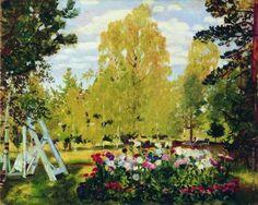 КустодиевБ.М. Пейзаж с цветочной клумбой