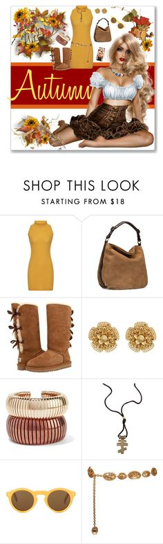 """A Fall Day"" by freshstart60 ❤ liked on Polyvore featuring UGG, UGG Australia, Miriam Haskell, Rosantica, CÉLINE, Chanel and Casetify"