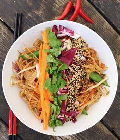 A Healthy Pad Thai recipe with traditional flavors, that wont break your diet! Vegetarian and gluten-free, this pad Thai will be sure to satisfy!