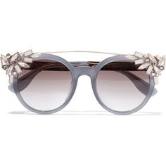 8be33896f6f Jimmy Choo - Vivy embellished round-frame acetate and gold-tone sunglasses