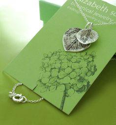 Mother and Child Aspen Leaf Necklace - Sterling Silver. $48.00, via Etsy.