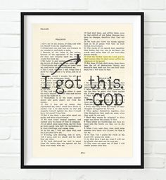 **This print does not come with the frame** I got this- Psalms 55:22 This reproduction print of a highlighted King James Bible scripture is sure to bring encour